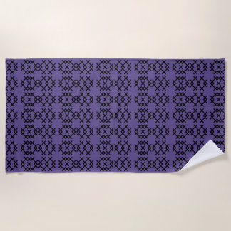 Tribal Ultra Violet Purple Nomad Geometric Shapes Beach Towel