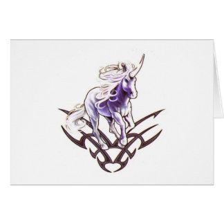 Tribal unicorn tattoo design card