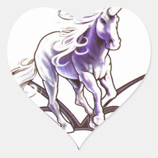 Tribal unicorn tattoo design heart sticker