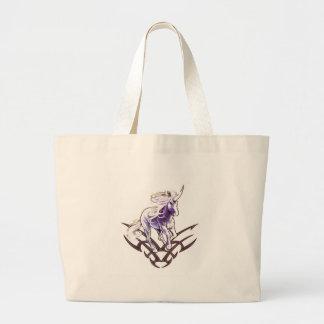 Tribal unicorn tattoo design large tote bag