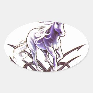 Tribal unicorn tattoo design oval sticker