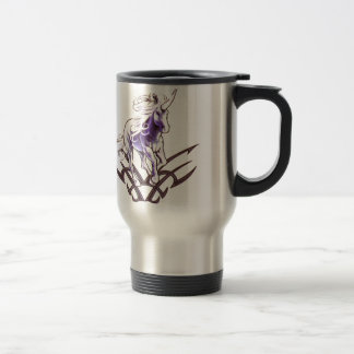 Tribal unicorn tattoo design travel mug