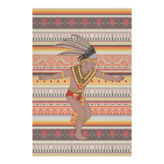 Tribal Warrier Dancing Ethnic Geometric Poster