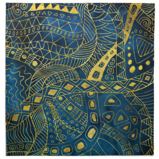 Tribal  Watercolor and Gold Pattern on blue Napkin