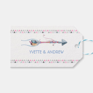 Tribal Watercolor Arrow Feathers Ribbons Gift Tags
