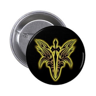 TRIBAL WINGS AND CROSS PINBACK BUTTONS