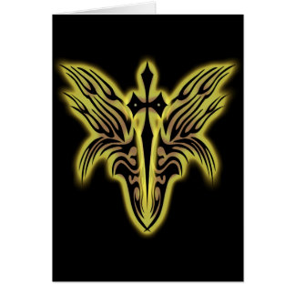 TRIBAL WINGS AND CROSS GREETING CARD