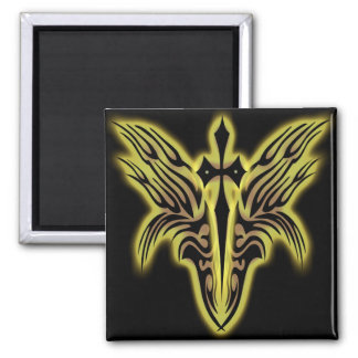 TRIBAL WINGS AND CROSS REFRIGERATOR MAGNET