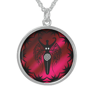 Tribal Wings Neolithic Nature Goddess ! Sterling Silver Necklace