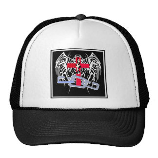 TRIBAL WINGS WITH CROSS AND CHAINS MESH HAT