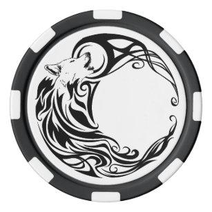 Tribal Wolf Poker Chips