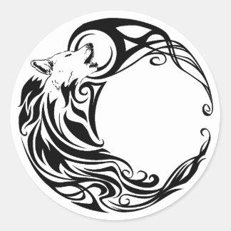 Tribal Wolf Round Sticker