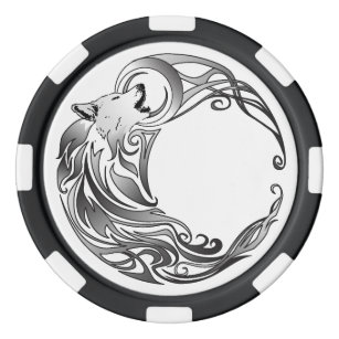 Tribal Wolf - Shaded Poker Chips