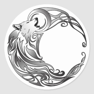 Tribal Wolf - Shaded Round Stickers
