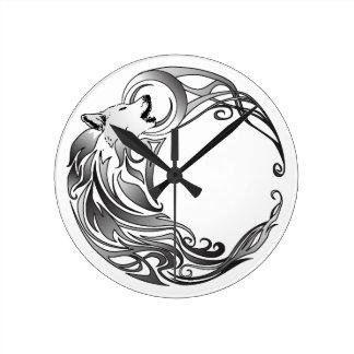 Tribal Wolf - Shaded Wall Clocks