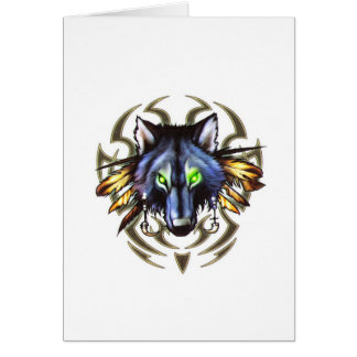 Tribal wolf tattoo design card