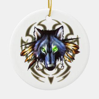Tribal wolf tattoo design ceramic ornament