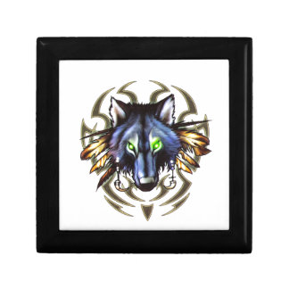Tribal wolf tattoo design gift box