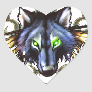 Tribal wolf tattoo design heart sticker