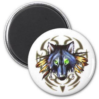 Tribal wolf tattoo design magnet