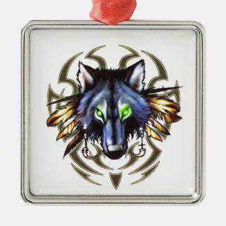 Tribal wolf tattoo design metal ornament