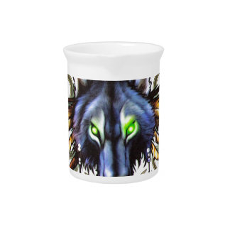 Tribal wolf tattoo design pitcher