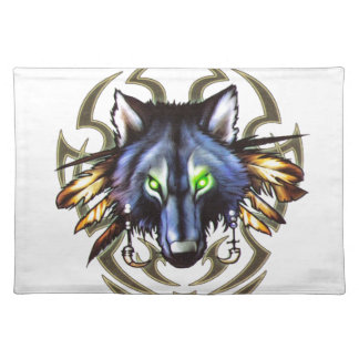 Tribal wolf tattoo design placemat