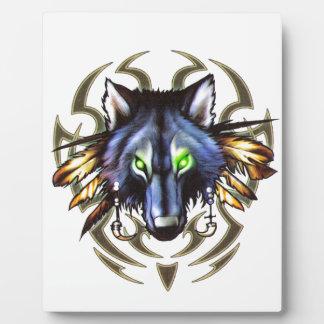 Tribal wolf tattoo design plaque