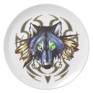 Tribal wolf tattoo design plate