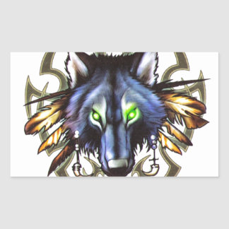 Tribal wolf tattoo design rectangular sticker