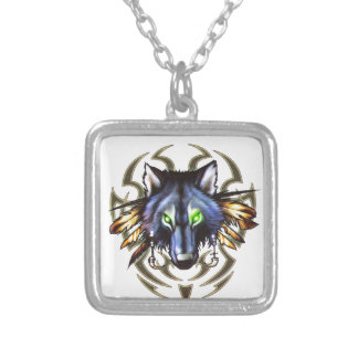 Tribal wolf tattoo design silver plated necklace