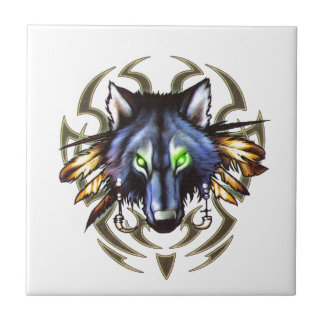 Tribal wolf tattoo design small square tile