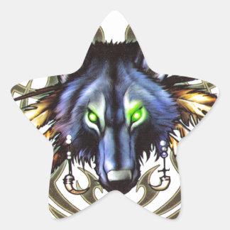 Tribal wolf tattoo design star sticker
