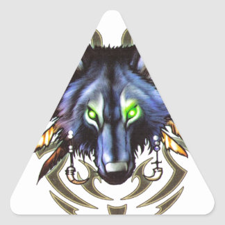 Tribal wolf tattoo design triangle sticker