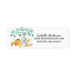Tribal Woodland Animals Baby Shower Address Label