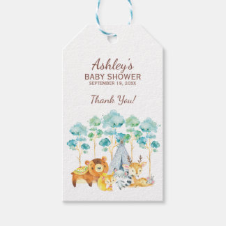 Tribal Woodland Animals Baby Shower Favor Gift Tag