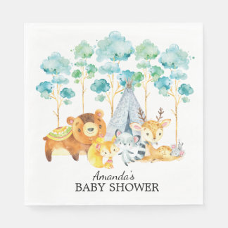 Tribal Woodland Animals Baby Shower Paper Napkins Disposable Napkin