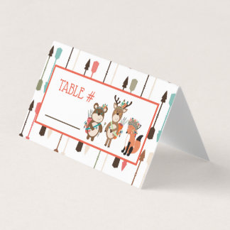 Tribal Woodland Animals Baby Shower Table Cards