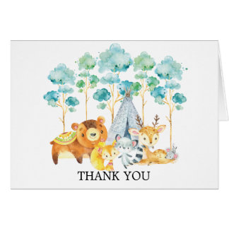 Tribal Woodland Animals Baby Shower Thank You Note Card