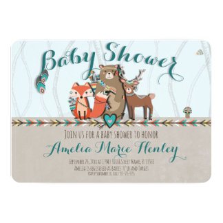 Tribal Woodland Creatures Baby Shower Invitation