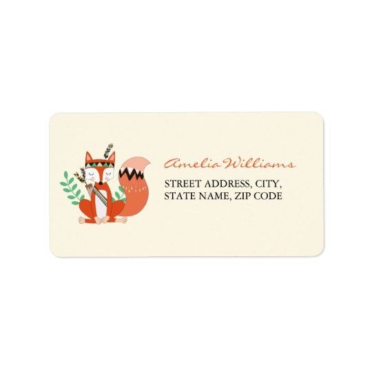 Tribal Woodland Fox Baby Shower Address Label