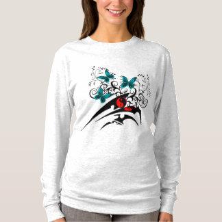 Tribal Yin Yang Butterflies,aqua T-Shirt