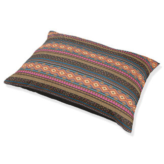Tribal Zigzag Southwest print Dog bed Brown/orange