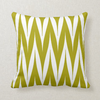 Tribal Zigzag Spike Pattern Chartreuse Green Cushion