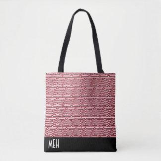 Tribangled Red Monogram Tote Bag