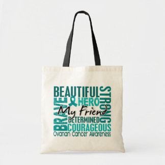 Tribute Square Friend Ovarian Cancer Canvas Bags