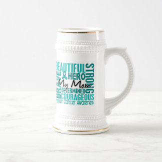 Tribute Square Mom Ovarian Cancer Beer Steins