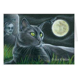 Tribute to Edgar Allan Poe Black Cat Art Card