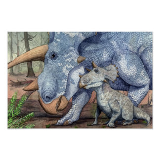 Triceratops and Young Print
