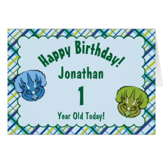 Triceratops Blue and Green Cute Dinosaur Birthday Card